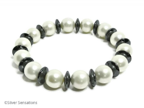 White Shell Pearl & Hematite Disc Beads Chunky Fashion Bracelet
